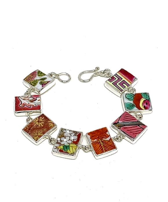 Bold Vintage Pottery Rectangle Shape Bracelet - 6 3/4