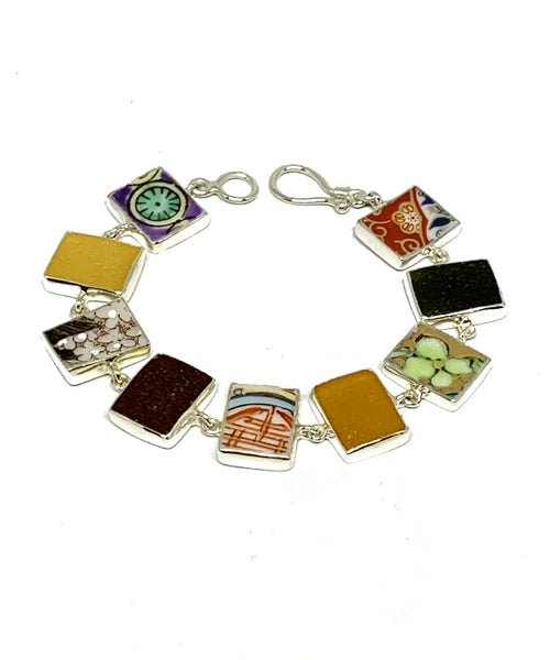 Bold Vintage Pottery & Sea Glass Rectangle Shape Bracelet - 7 1/2