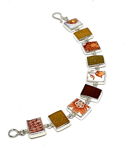 Orange Floral Vintage Pottery & Shades of Amber Sea Glass Rectangle Shape Bracelet - 7 1/2