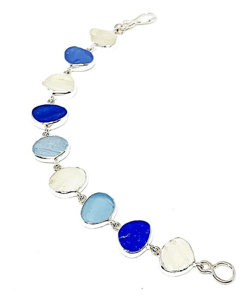 Textured Clear, Blue, & Aqua Natural Shape Sea Glass Bracelet - 7