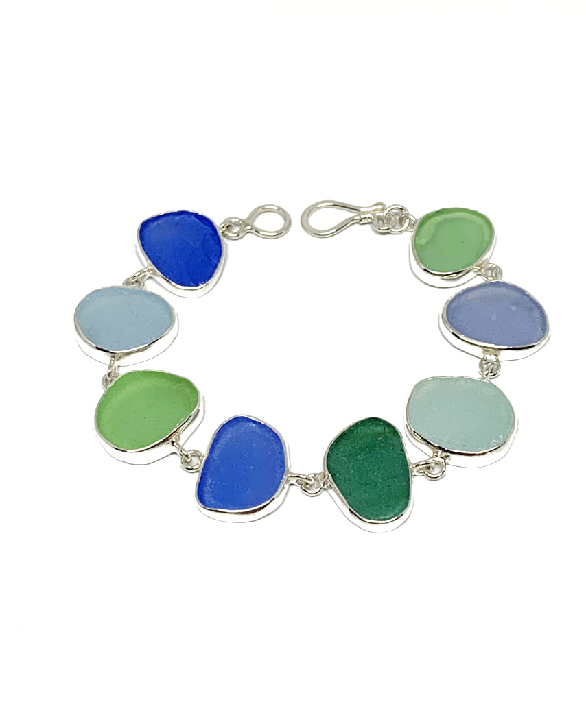 Blue, Green & Aqua Sea Glass Bracelet - 7 1/2