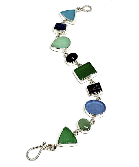 Blues, Aquas & Green Sea Glass with Assorted Stone Mutli-Shape Bracelet - 7