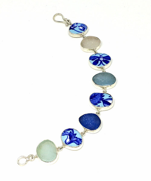 Turquoise & Cobalt Vintage Pottery with Sea Glass Bracelet - 7 1/2