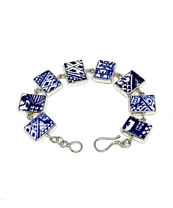 Blue and White Pattern Vintage Pottery Bracelet - 7