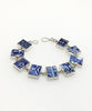 Blue and White Rectangle Vintage Pottery Bracelet