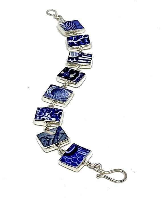 Blue and White Bold Pattern Vintage Pottery Bracelet - 7