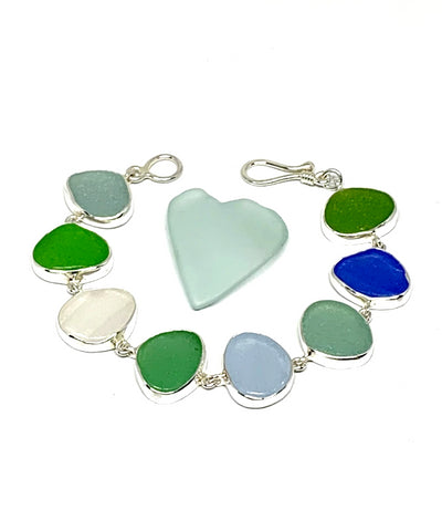Blue, Green, Aqua & Clear Sea Glass Bracelet - 7 1/2