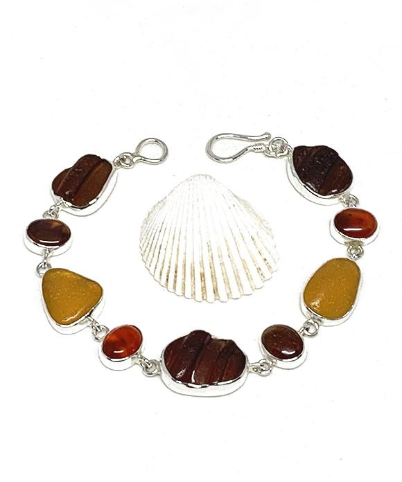 Textured Brown and Amber Sea Glass with Carnelian Stone Bracelet - 8