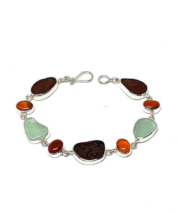 Dark Brown and Aqua Sea Glass with Carnelian Stone Bracelet - 8