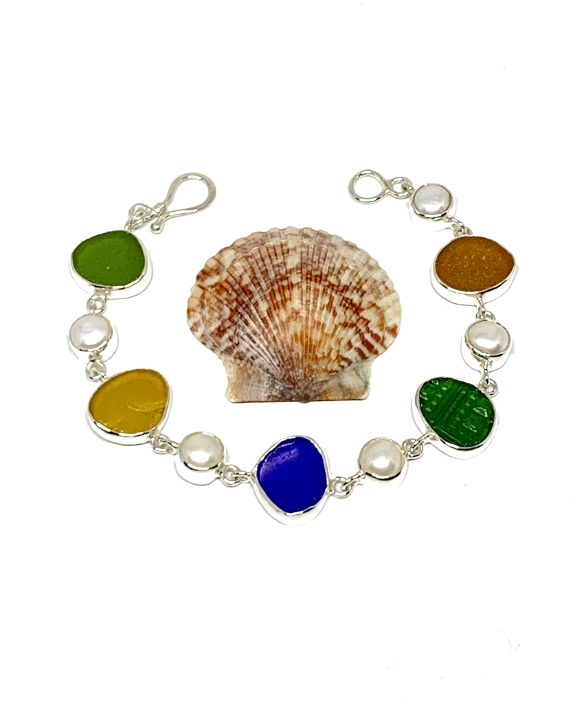 Dark Earth Tone Sea Glass with White Pearl Bracelet - 7 3/4