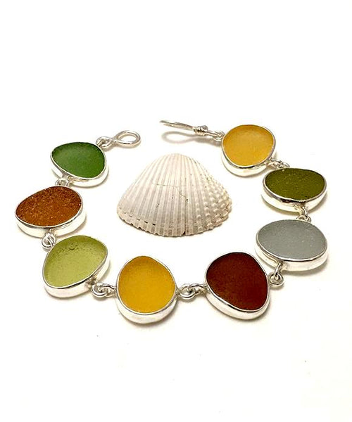 Amber Earth Tone Sea Glass Bracelet