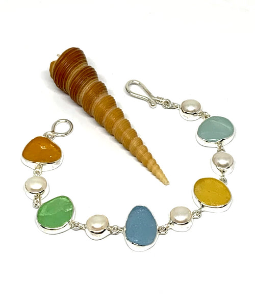 Light Earth Tone Sea Glass with White Pearl Bracelet - 7 1/2