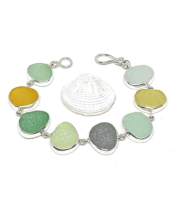 Soft Earth Tone Sea Glass Bracelet - 7 1/2