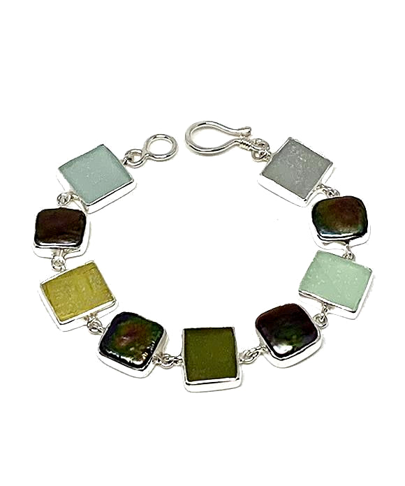 Light Earth Tone Sea Glass with Black Pearl Square Bracelet - 7 1/4