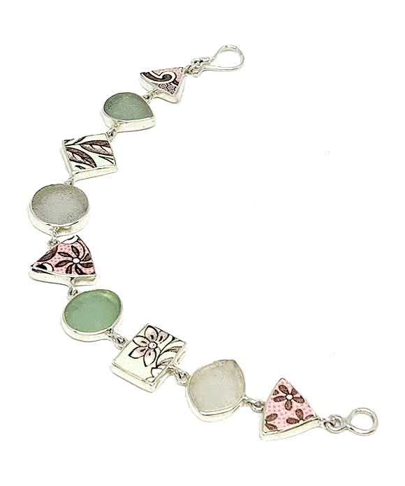Pink & Mint Green Floral Vintage Pottery & Pastel Sea Glass Multi Shape Bracelet - 7 1/2