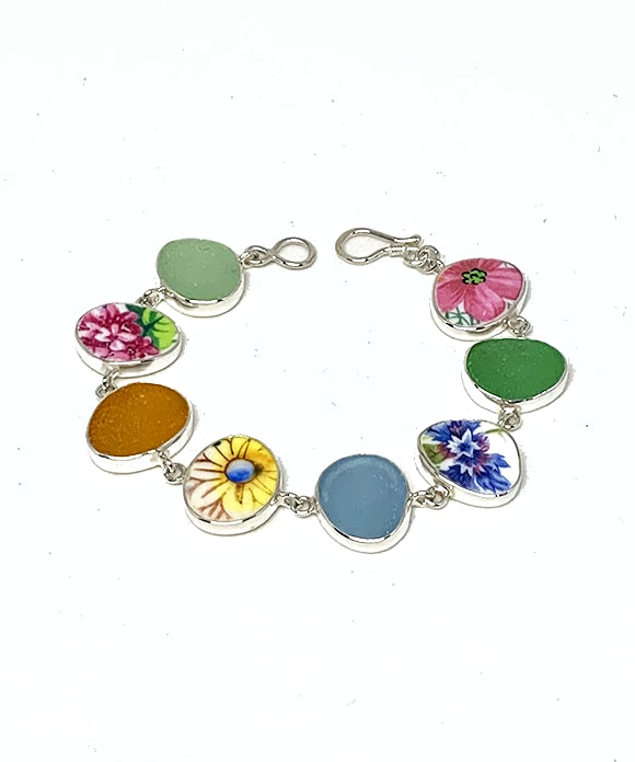 Colorful Floral Vintage Pottery & Sea Glass Multi Shape Bracelet - 7 1/2