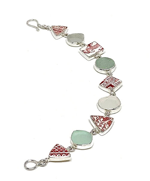 Red & White Vintage Pottery & Aqua with Clear Sea Glass Multi Shape Bracelet - 7 1/2