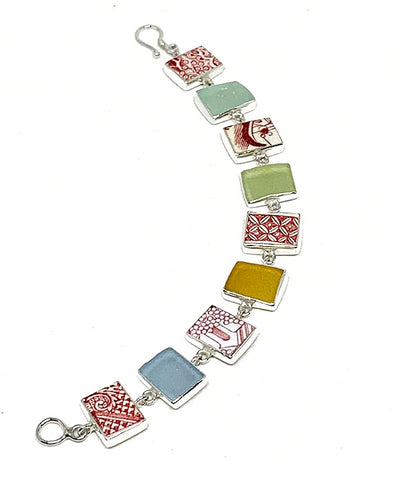 Red & White Vintage Pottery with Pastel Sea Glass Rectangle Bracelet - 7 1/2