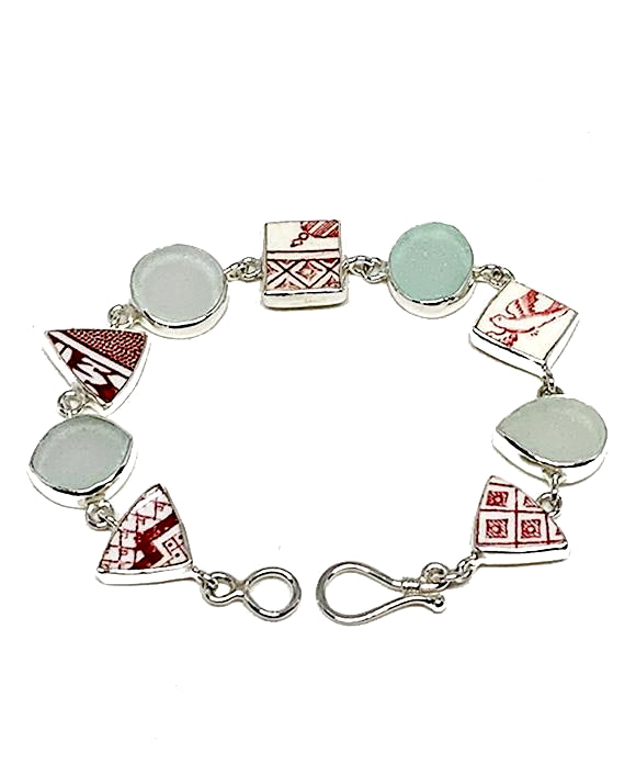 Red & White Vintage Pottery with Clear and Aqua Sea Glass Multi Shape Bracelet - 7 1/2