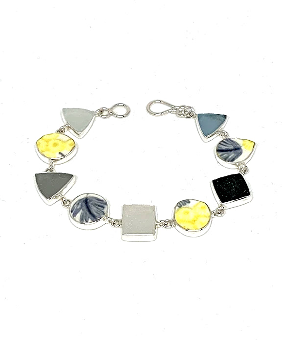 Textured Grey & Yellow  Floral Vintage Pottery & Sea Glass Multi Shape Bracelet - 7 1/2