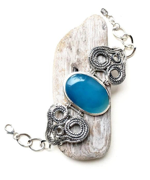 Heart Chain with Blue Agate Stone Bracelet