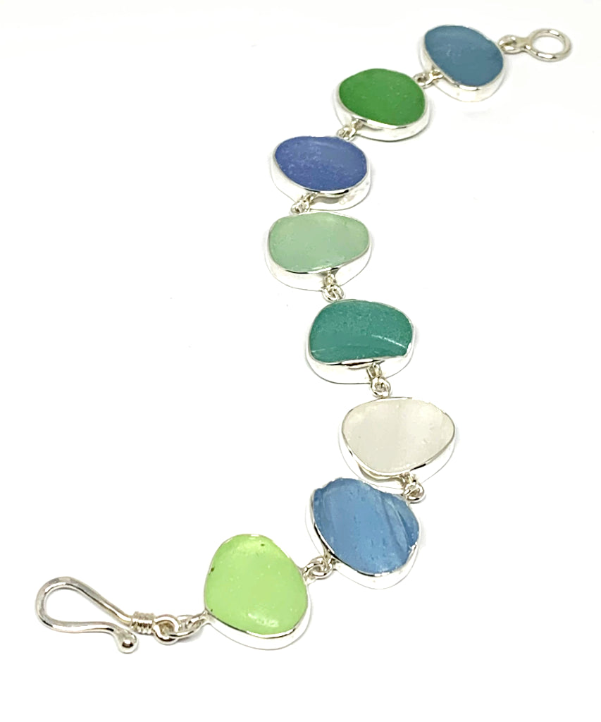Soft Blue, Green & Aqua Sea Glass Bracelet - 7 1/2
