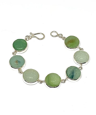 Aqua Sea Glass Marble Bracelet - 6 3/4