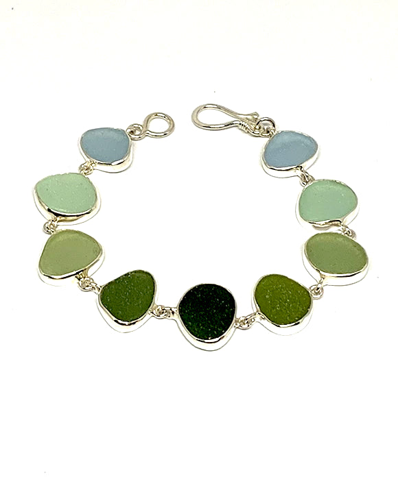 Soft Blue, Aqua, Sage Green to Dark Olive Natural Shape Sea Glass Bracelet - 7 1/2