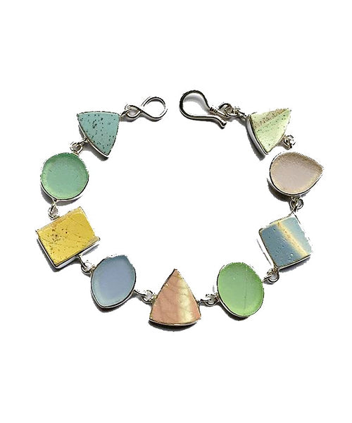 Pastel Sea Pottery and Sea Glass Bracelet - 7 1/2