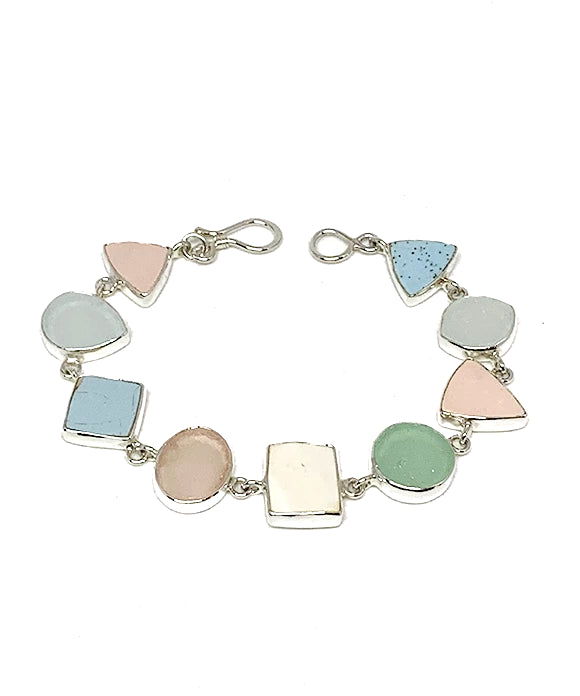 Pink & Blue Pastel Sea Pottery and Sea Glass Bracelet - 7 1/2