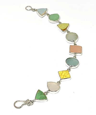 Pastel Sea Pottery & Sea Glass Multi Shape Bracelet - 7 1/2