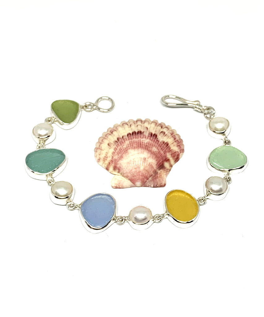 Pastel Earth Tone Sea Glass with White Pearl Bracelet - 7 1/2