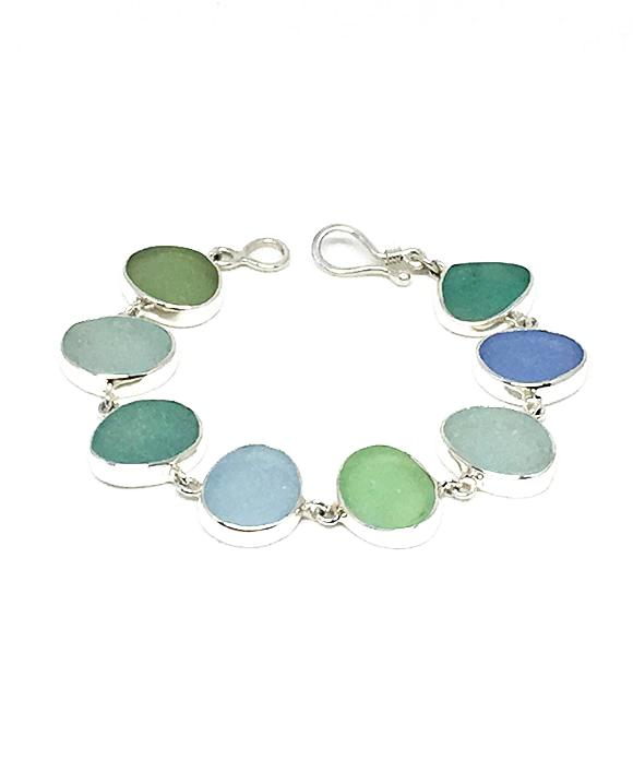 Soft Greens and Blues Sea Glass Bracelet