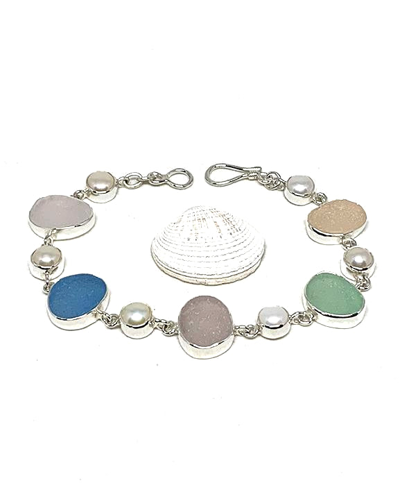 Pastel Sea Glass with White Pearl Square Bracelet - 8 1/2