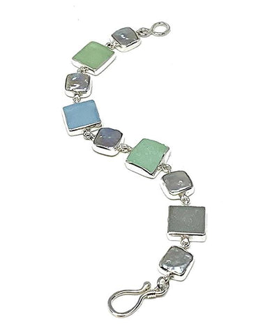 Aqua & Grey Sea Glass with Grey Pearl Square Bracelet - 7