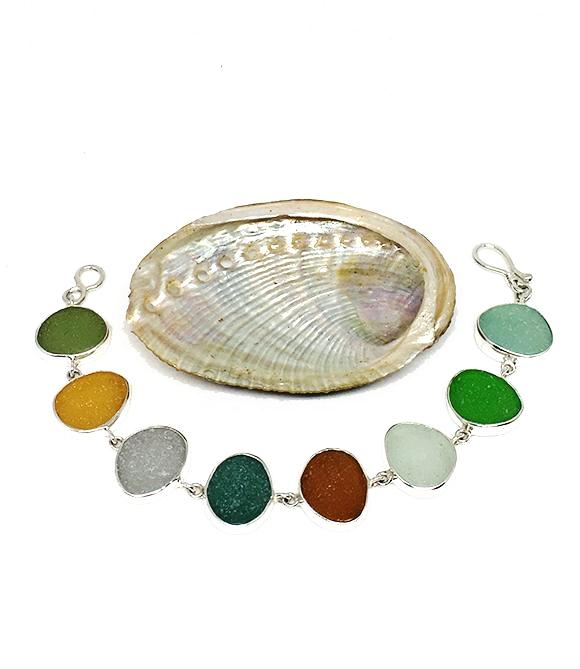 Rich Earth Tone Sea Glass Bracelet