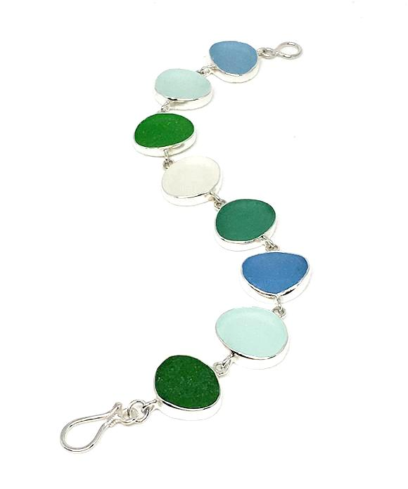 Green, Aqua and Clear Sea Glass Bracelet