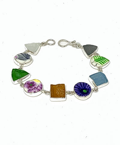 Textured Floral Vintage Pottery & Sea Glass Multi Shape Bracelet - 7 1/2