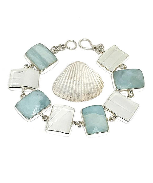 Textured Clear Sea Glass with Faceted Amazonite Stones- 7 1/2
