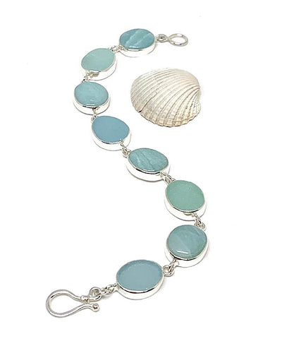 Aqua Sea Glass with Natural Amazonite Stone Bracelet - 7 1/2
