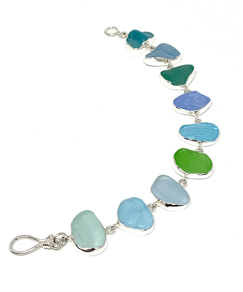 Textured Light Blue, Green & Aqua Sea Glass Bracelet - 7 1/2
