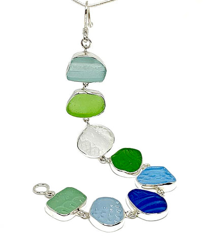 Textured Green, Clear, Cobalt & Aqua Sea Glass Bracelet - 8