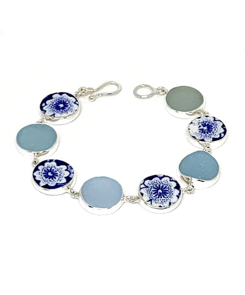 Blue & White Flower Vintage Pottery & Pastel Blue Sea Glass Round Shape Bracelet - 8