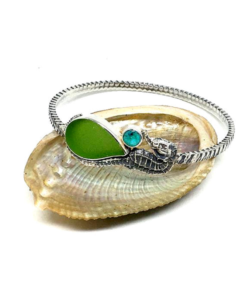 Sea Horse with Green Sea Glass and Turquoise Heavy Bangle - Size Medium