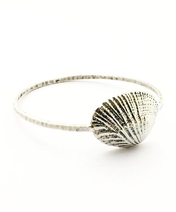 Sterling Scallop Shell Bangle - Size Small