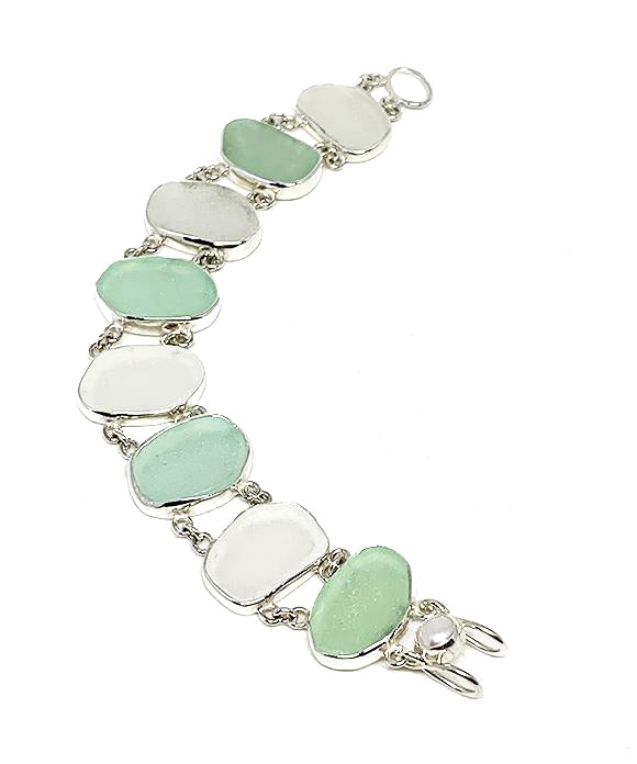 Aqua & Clear Sea Glass Double Link Bracelet - 7 1/2