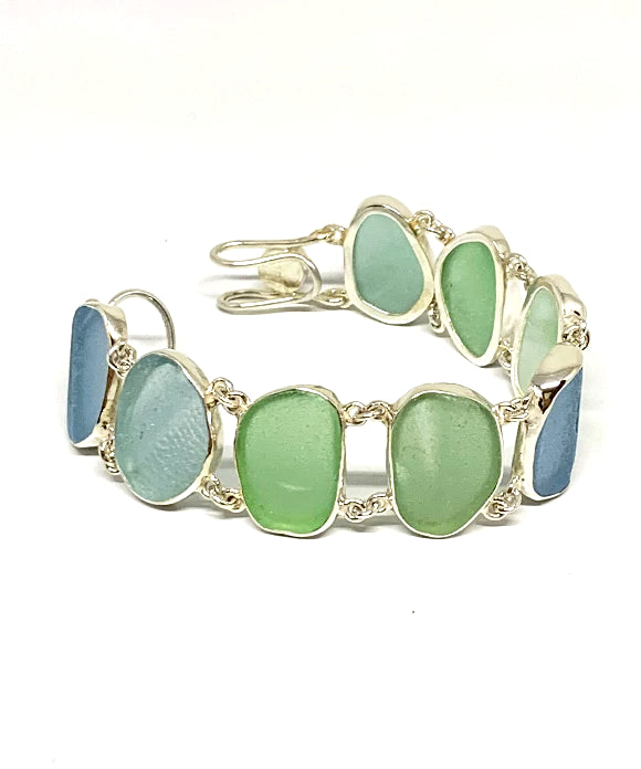 Textured Green, Blue & Aqua Sea Glass Double Link Bracelet - 7 1/2