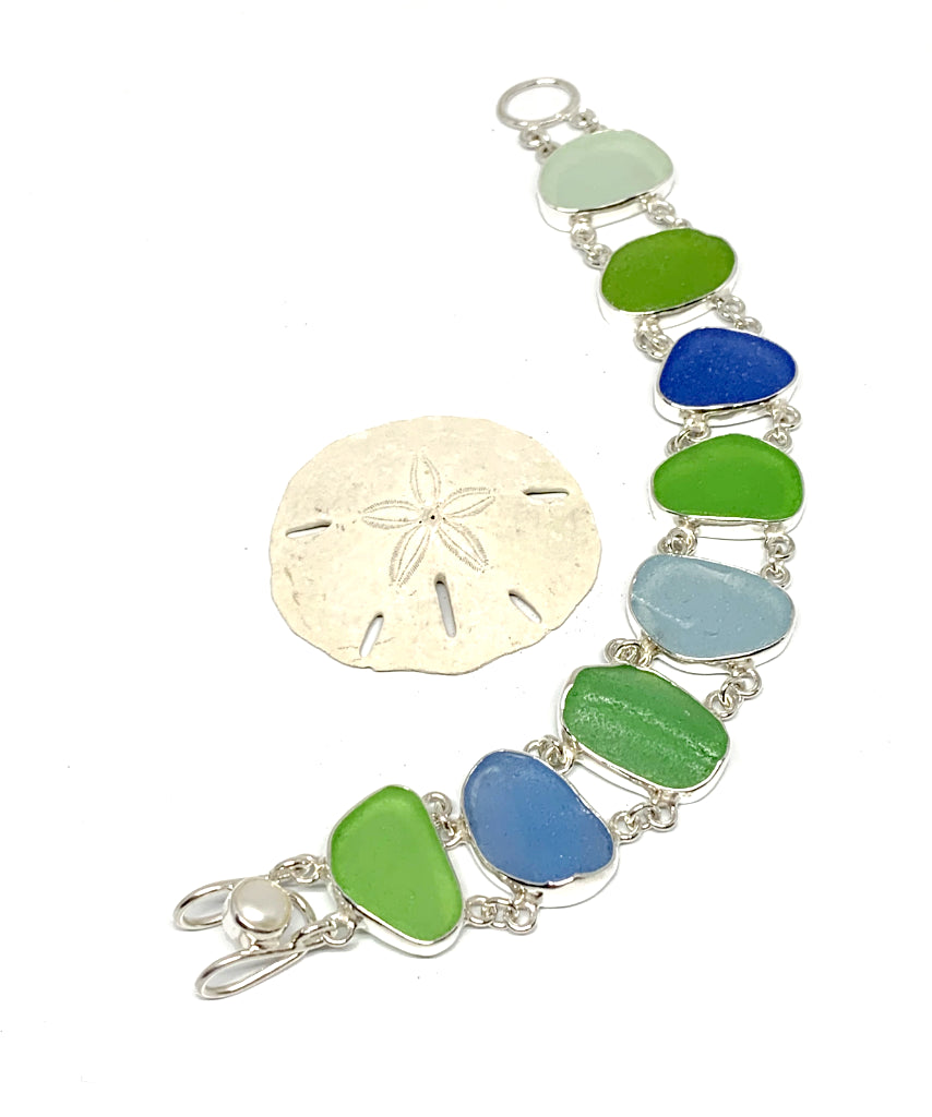 Blue and Green Textured Sea Glass Double Link Bracelet - 7