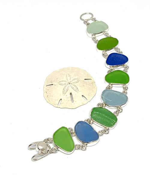 Blue, Aqua and Green Textured Sea Glass Double Link Bracelet - 7