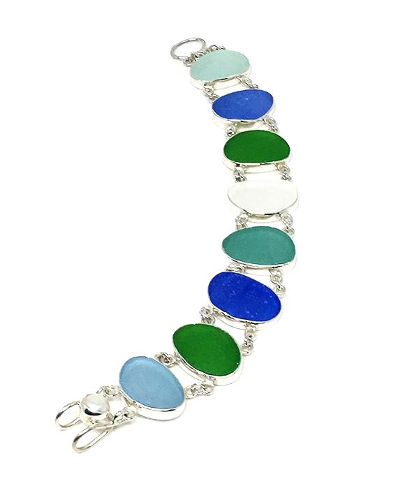 Sea Glass Blues and Greens Double Link Bracelet